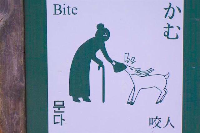 Panneau assez humouristique pour un français photo blog voyage tout du monde japon nara http://yoytourdumonde.fr