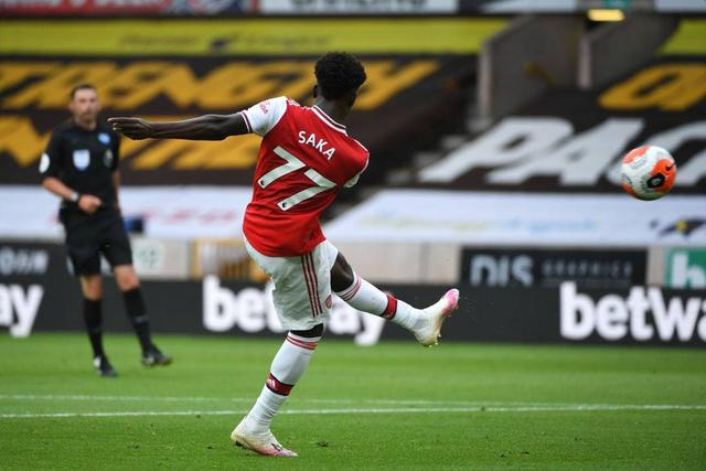 At the age of 18 years and 303 days, Saka became the youngest player in the shootout team's Premier League goal