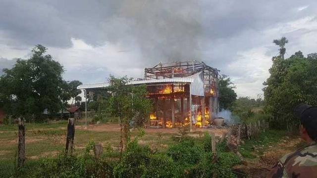 Solar cells exploded and Cambodian wooden houses were instantly engulfed by fire
