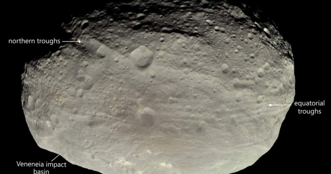 A new theory on the trough-like landform of Vesta is proposed