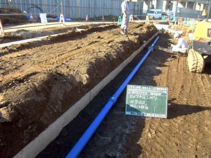 給水管の配管完了後の様子