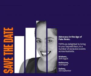 Sapreet Kaur event poster: 26th August, Brisbane; 31st August, Melbourne; 2nd September Sydney