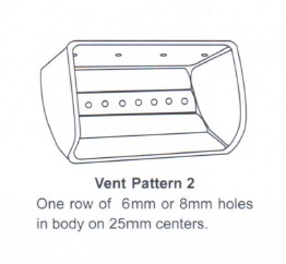 25mm centers one row vent pattern