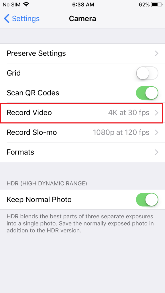 How to change Camera quality and format on iOS