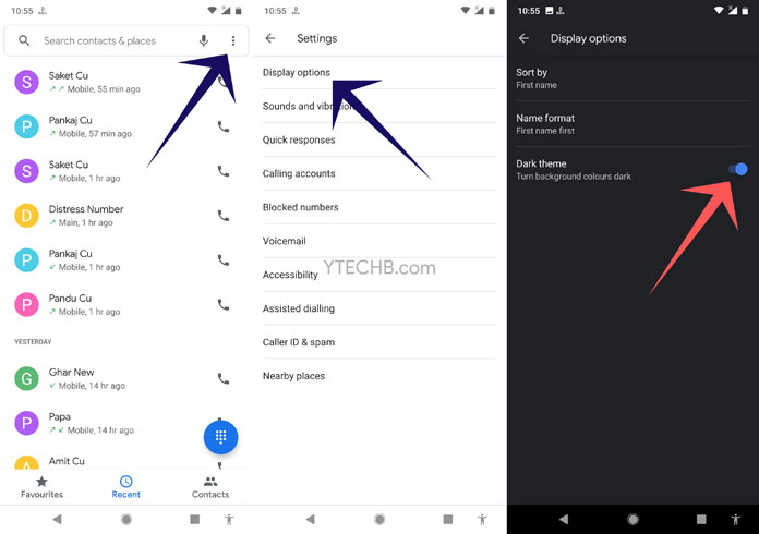 enable dark mode in dialer