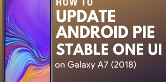Samsung Galaxy A7 android pie update