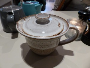 Pottery serving hot water at Modern Pantry