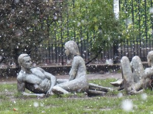 Statues enjoying the snowy conditions in Soho Square