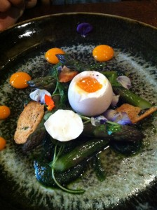 Asparagus with soft boiled pheasant egg, wild garlic pesto, Hollandaise sauce & watercress