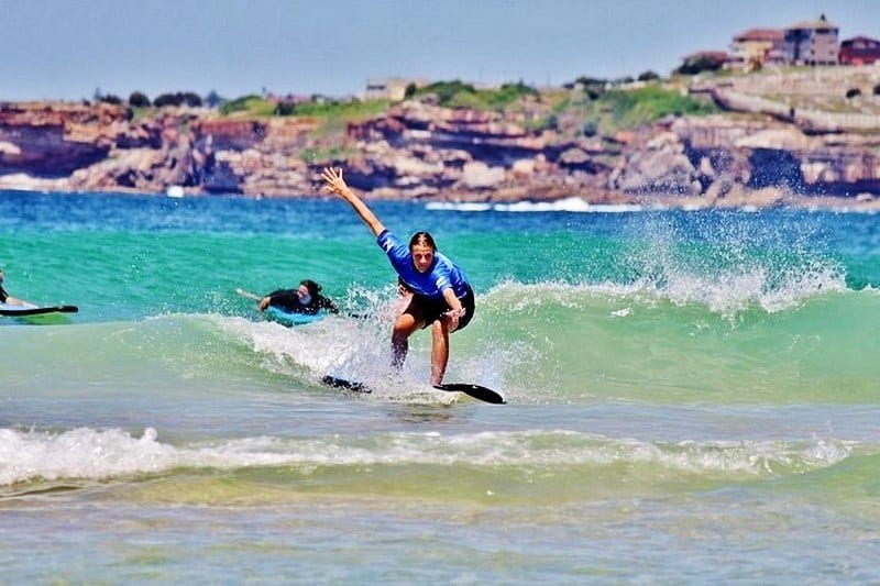 Learning to surf at Bondi Beach in Sydney, Australia