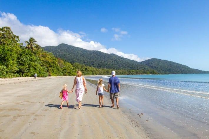 Take a walk along Cape Tribulation Beach in the Daintree Rainforest, Queensland, Australia