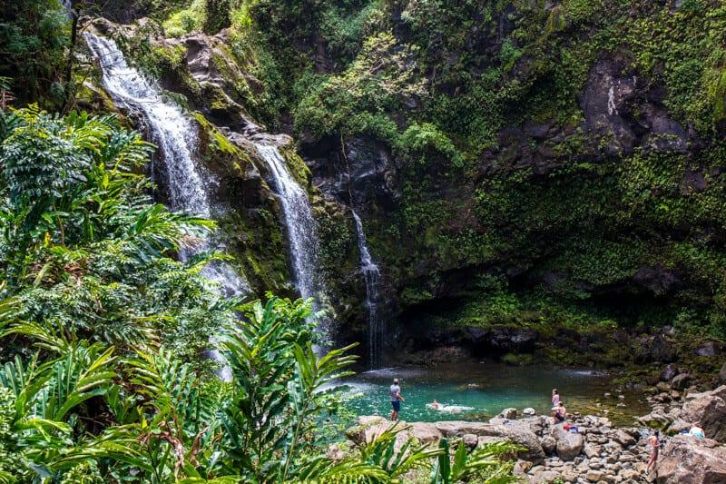 Upper Waikani Falls - one of the bet top along the Road to Hana drive in Maui, Hawaii