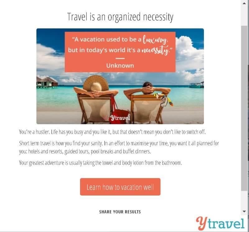Checklist Vacationer Personality