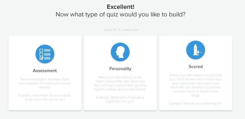 Interact quiz types