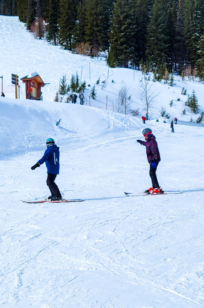 Instructor Mary Jo taking me down the slopes at Schweitzer