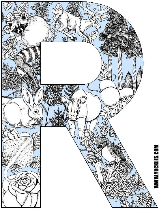 letter r coloring page by yuckles