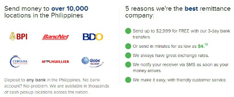 Remitly offers free money transfers to the Philippines