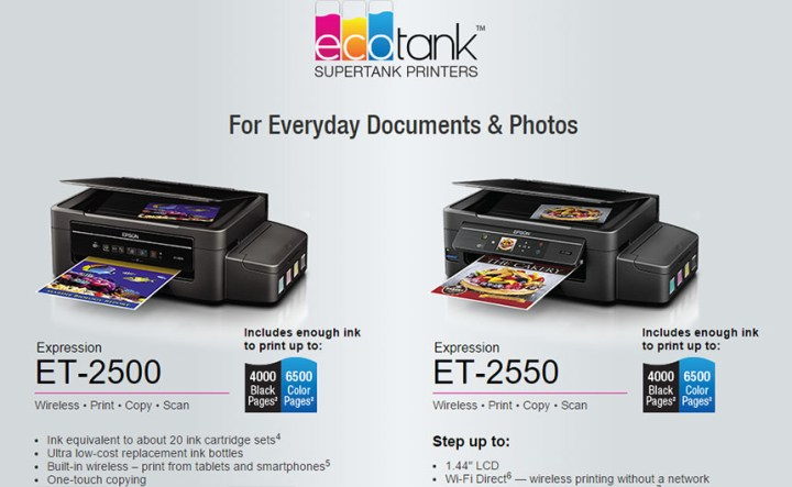 Epson to release EcoTank printers, ink replacement every 2