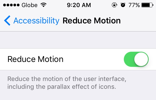 ios 9 reduce motion