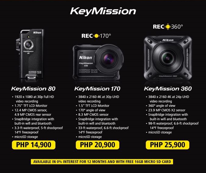Nikon KeyMission action cameras launched in PH, priced