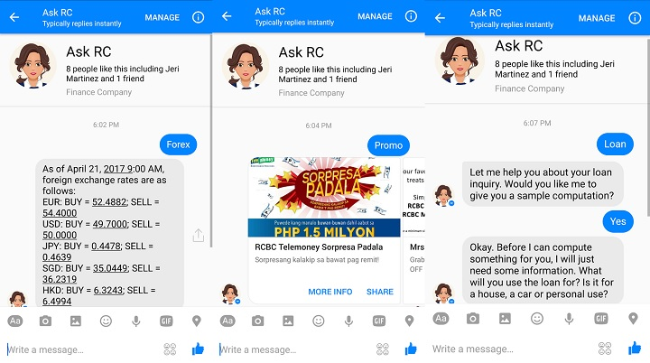 RCBC launches Ask RC, a Messenger chatbot for banking