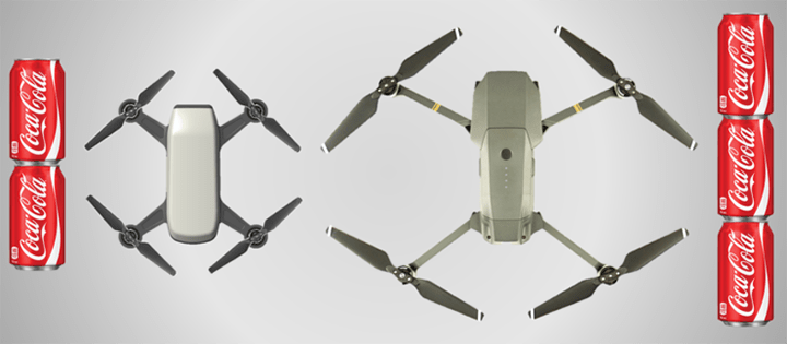 DJI Spark Beside Mavic Pro With Cans For Reference Dimensions