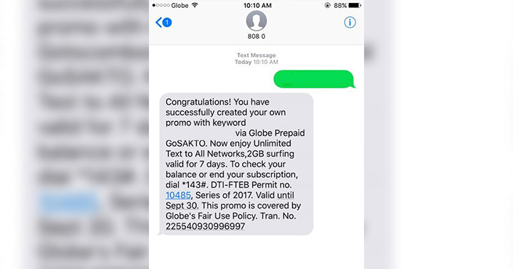 Globe GoSakto 120, 140: 2GB Data, Unli Text All-Net, Unli Calls to