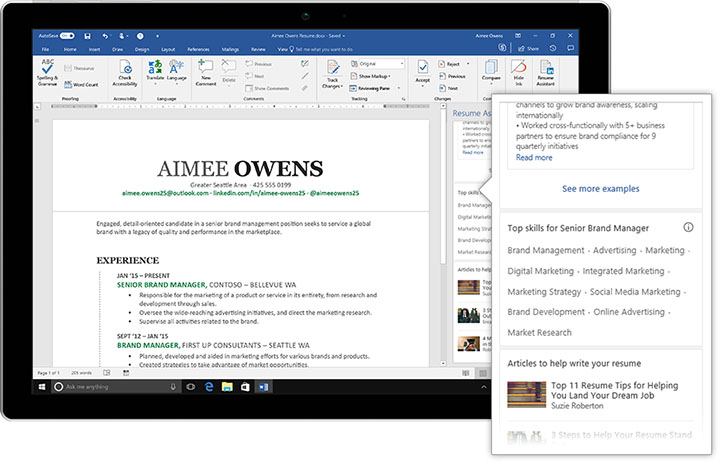 The Resume Assistant Is A New Feature Integrated In Microsoft Word To Help  Office 365 Subscribers Create Interesting Resumes, Be More Easily  Discovered By ...  Create Resume From Linkedin