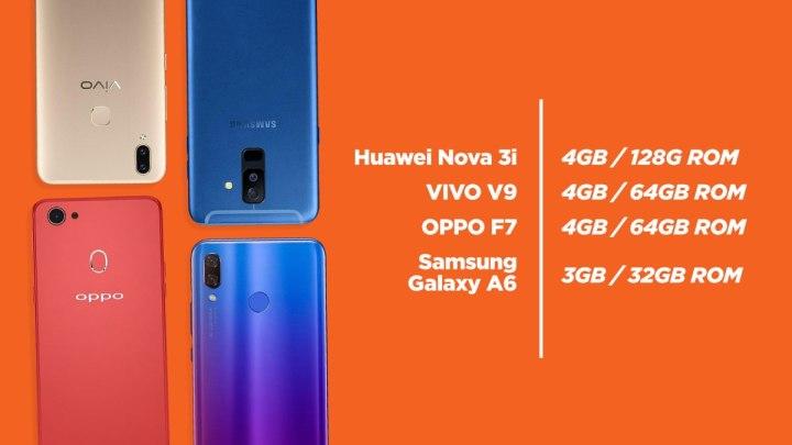 Huawei Nova 3i vs OPPO F7 vs Samsung Galaxy A6 vs Vivo V9: 4