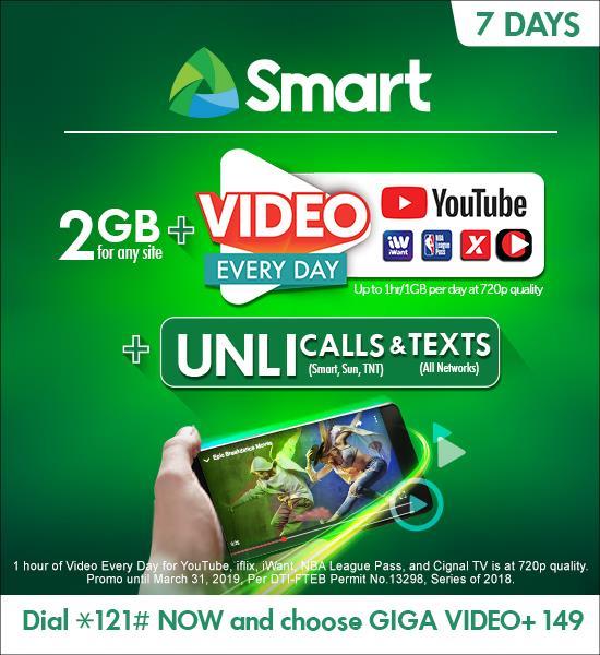 Smart outs Giga Video+ data promo for prepaid - YugaTech