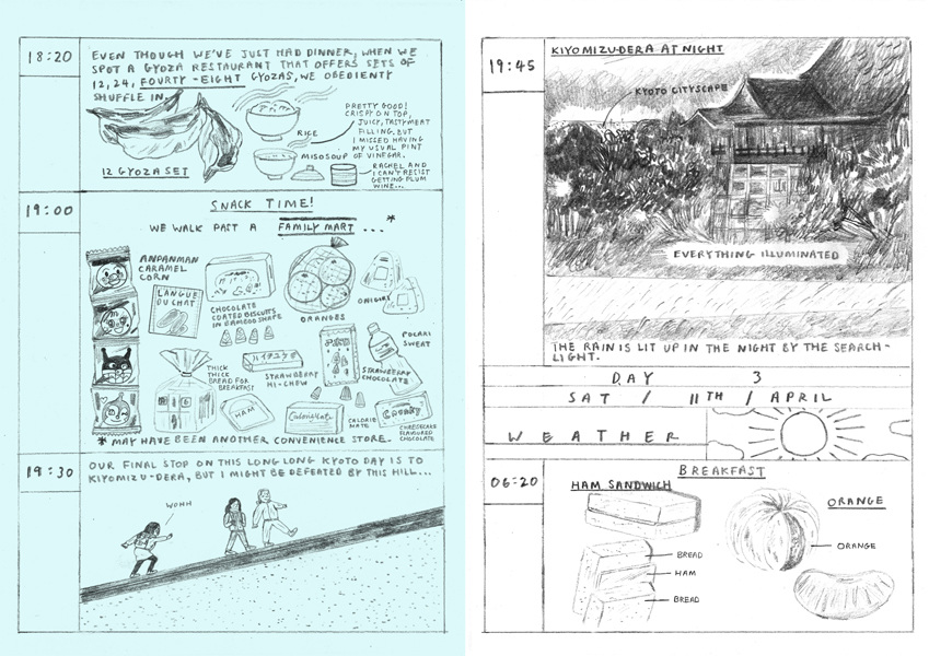 Itinerary comic zine by Wai Wai Pang