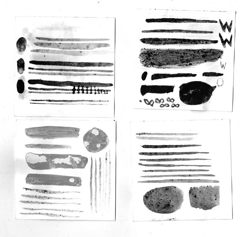 Gastón Caba's homemade ink tests