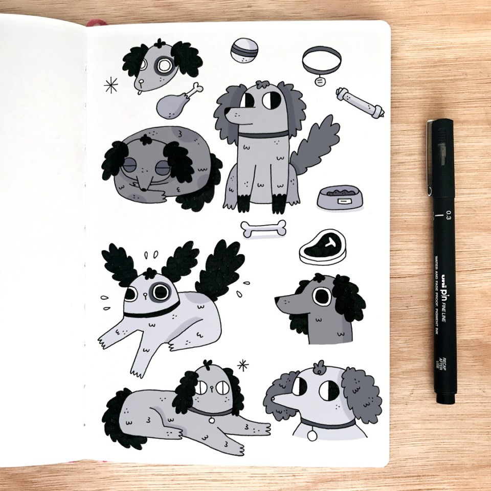 Doggy sketchbook page by Jamie Squire