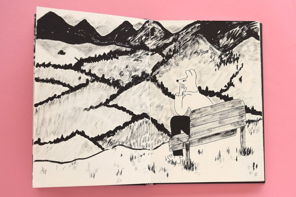 Drawing of a furry character sitting on a bench high on the hills looking out onto the landscape