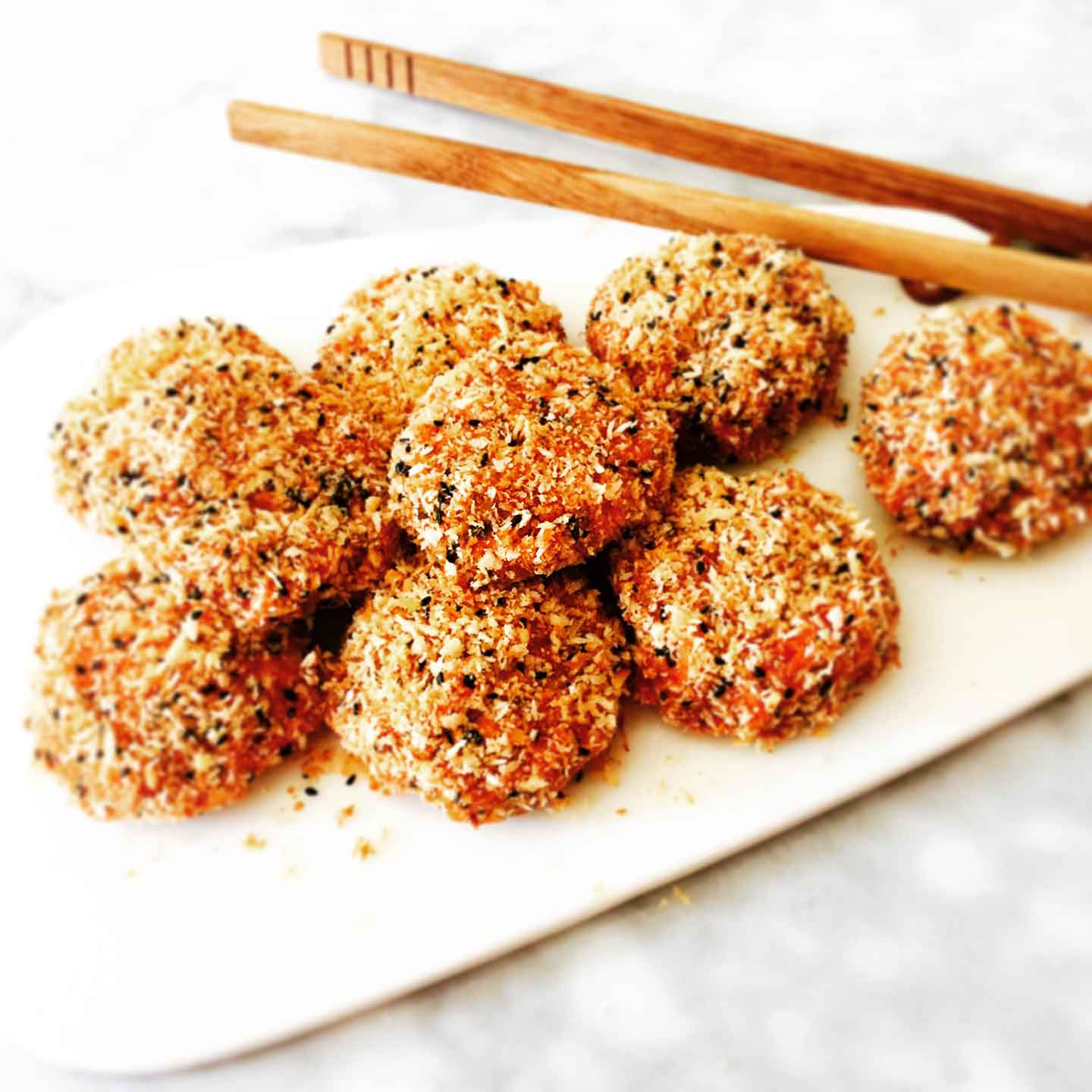 Oven baked japanese croquettes made from sweet potato