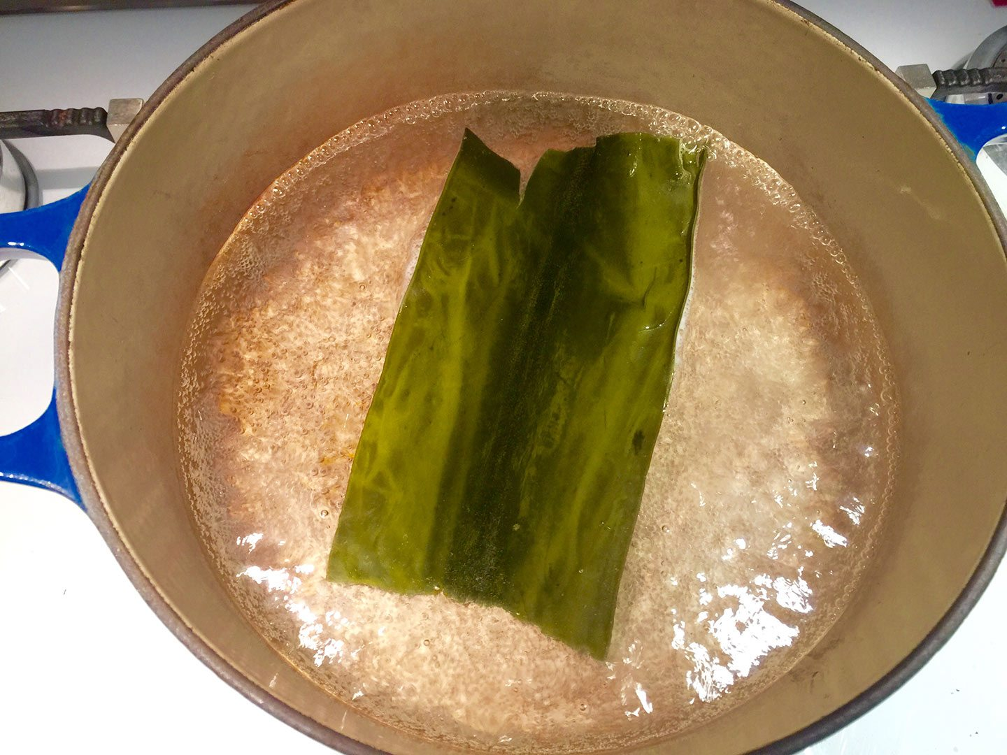 japanese rice porridge preparing the kombu stock