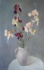 Irises on a light background 110-70 cm. 700 €