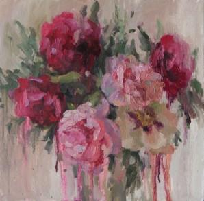 Peonies, 40-40cm. oil on canvas. 300€