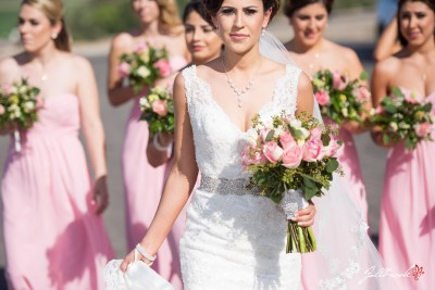 Bridesmaids and the bride have fun before getting married