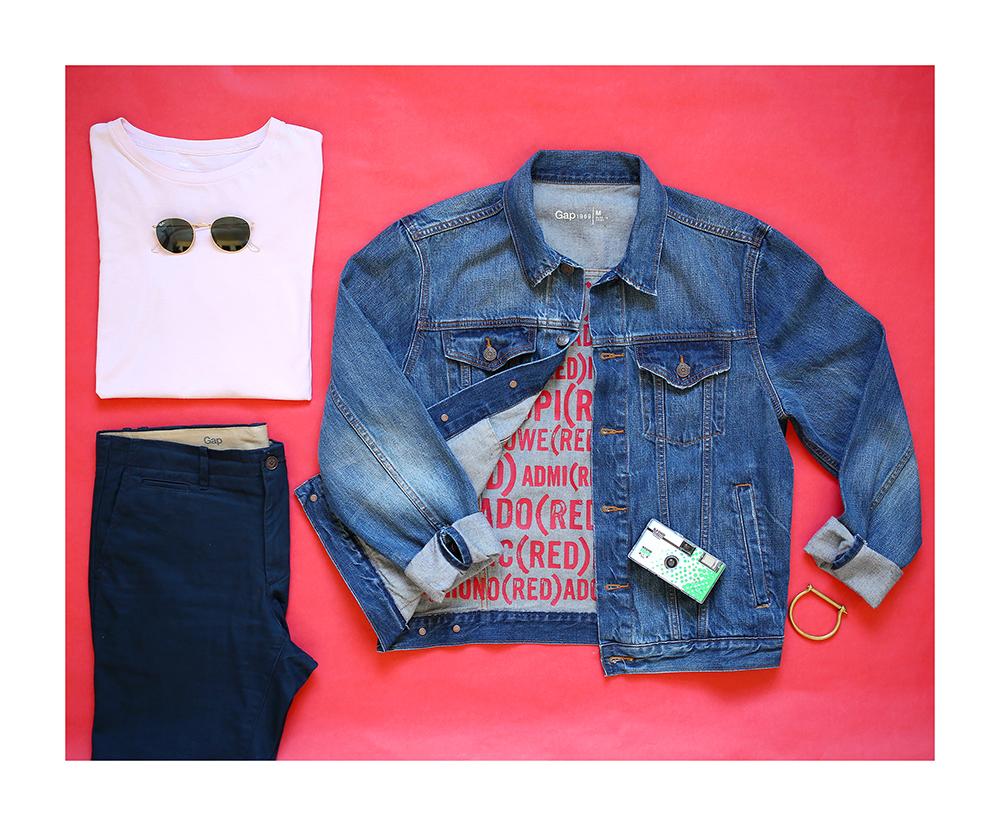 Yummertime styles Gap x (RED) light denim jacket