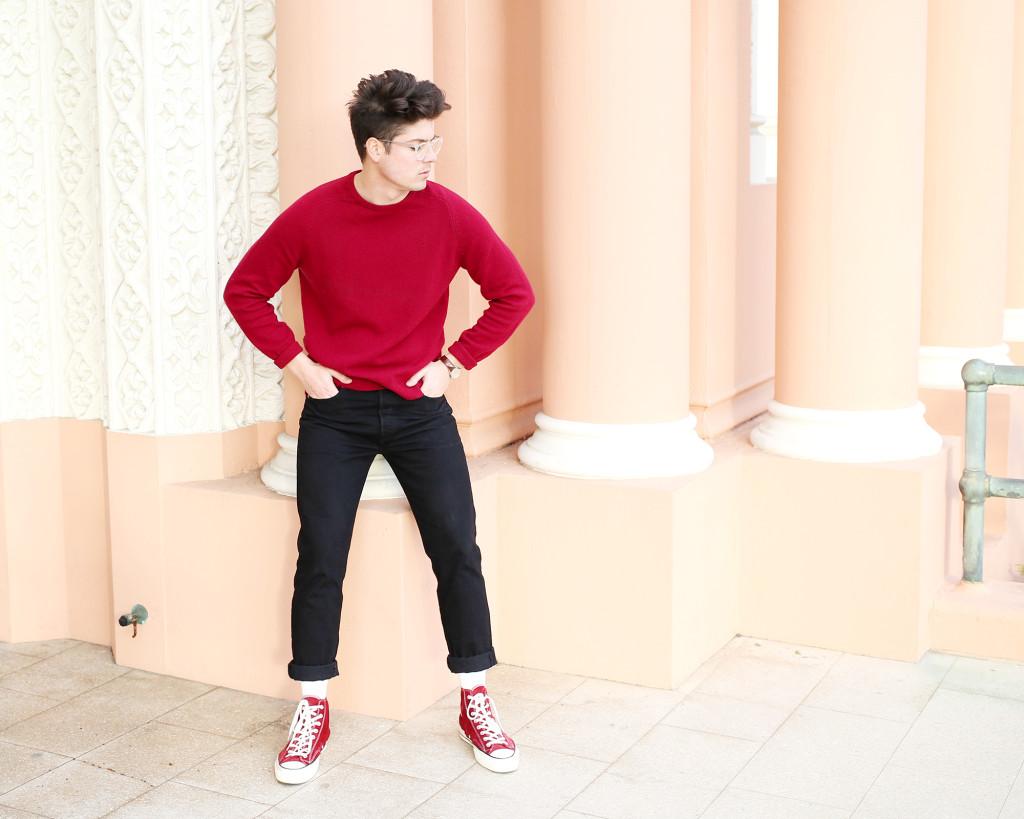 Brock, of Yummertime, in men's red sweater