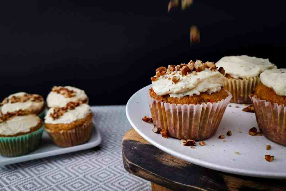 Low carb carrot cake cupcakes with crushed walnuts