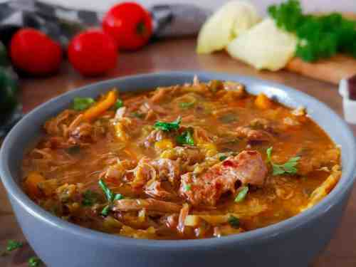 A bowl of low carb Clean out the fridge Ajiaco soup