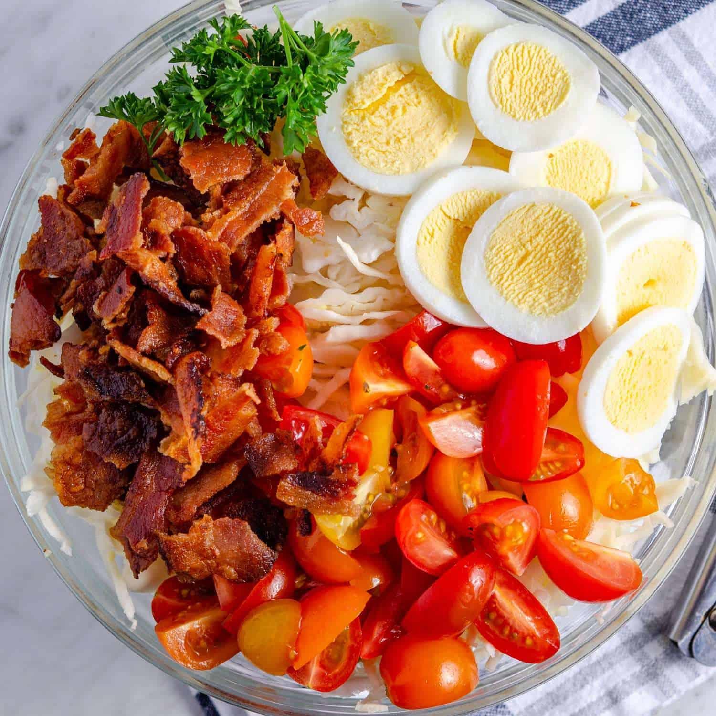 bowlful of BLT keto coleslaw ingredients