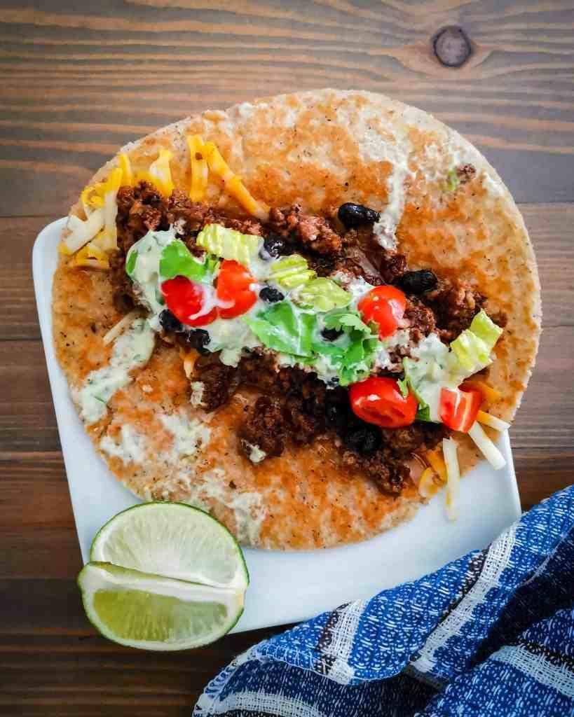 Keto tortilla open face burrito