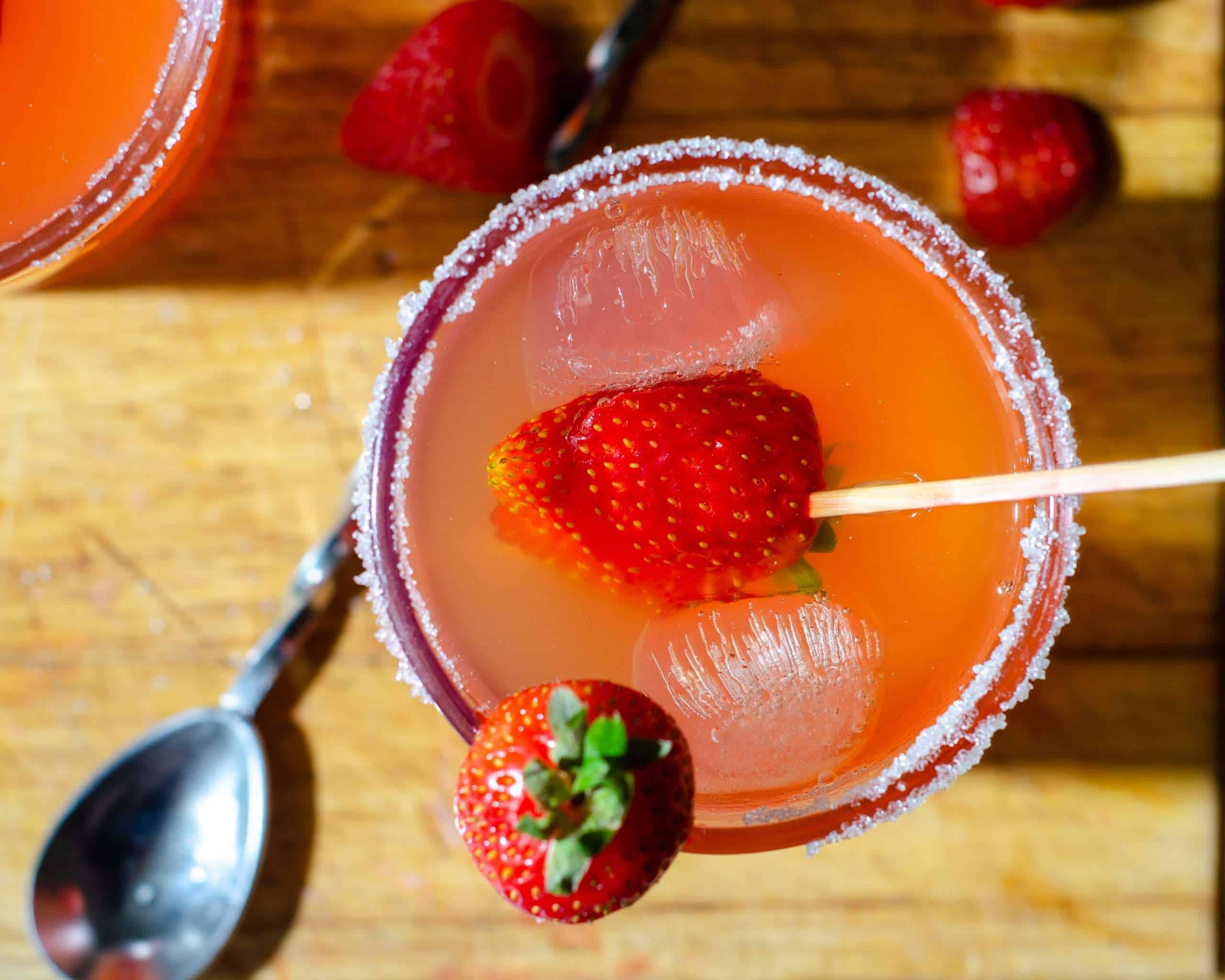Low carb strawberry lemonade from the top