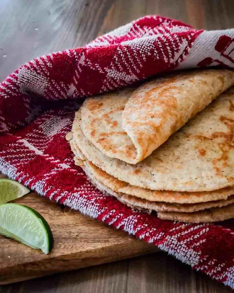 Oat Fiber Tortillas folded on a towel