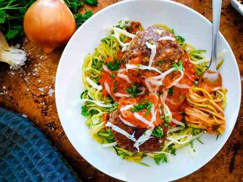Low Carb Spaghetti and Meatballs served with garnish