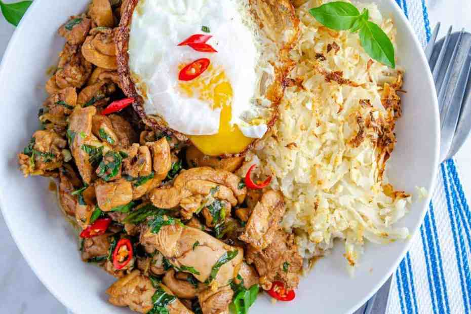 Easy low carb Thai basil chicken in a white bowl