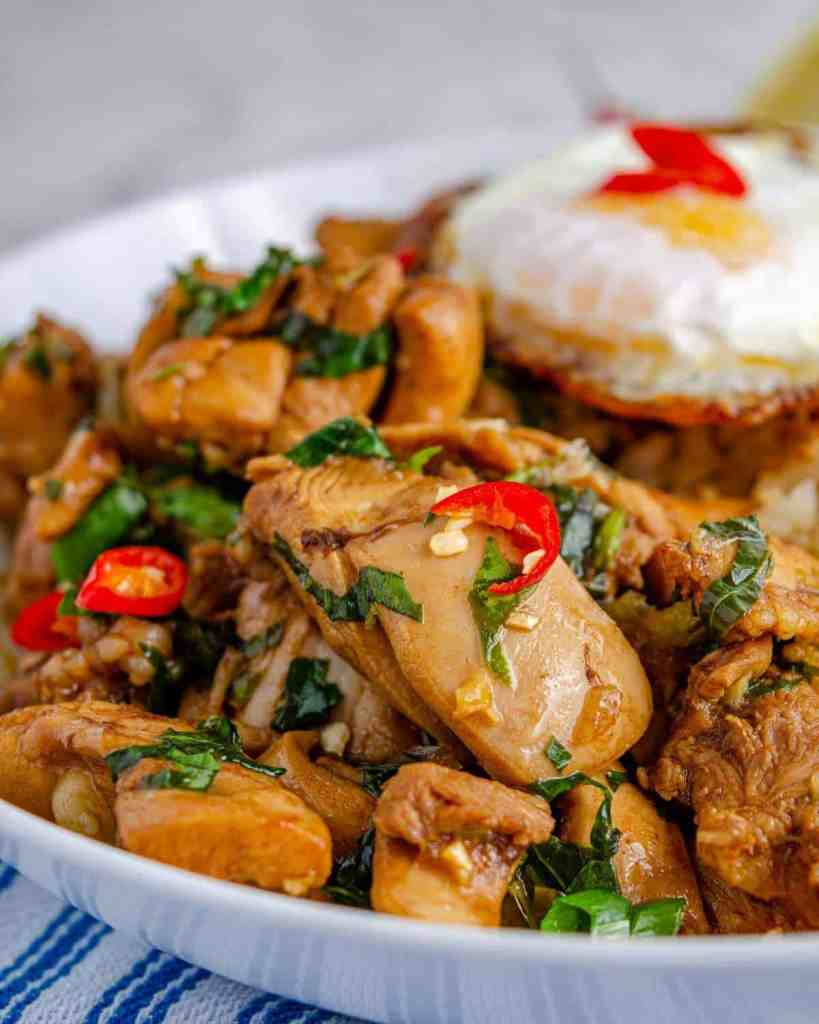 Low carb Thai basil chicken in a white bowl